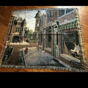Unique City scene Blanket With Frayed Edging